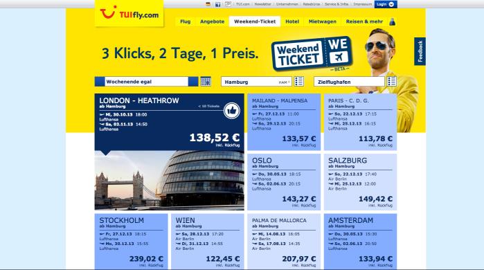 Screenshot der Webseite von TUIfly